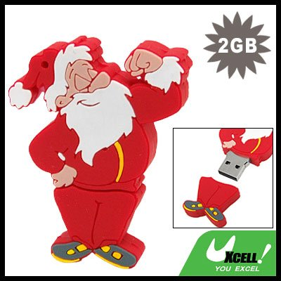 2GB USB 2.0 Sporty Santa Claus Flash Memory Drive Stick