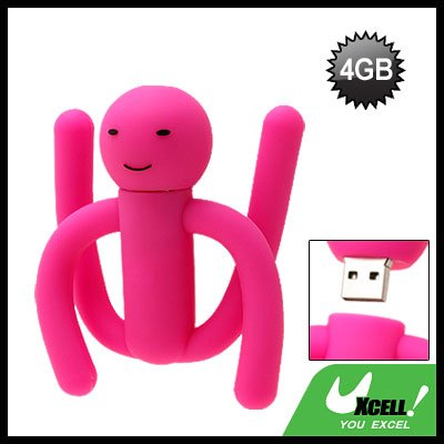 Purple Pink Flexible Rubber Puppet 4GB USB Flash Memory Stick