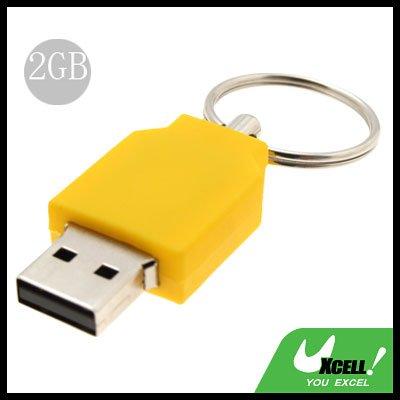 2GB Yellow Keyring Portable USB Flash Memory Stick