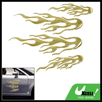 Golden 3D Fire Flame Auto Car Decorative Sticker Decal