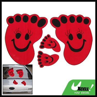 Red Footprint Vinyl Decal Car Vehicle Window Sticker
