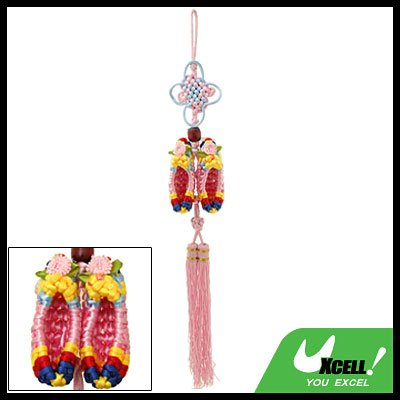 Embroidery Chinese Knot Home Car Ornament Pendant Pink