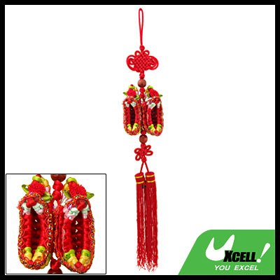 Embroidery Chinese Knot Oriental Ornament Pendant Red