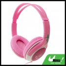 3.5mm Volume Control Pink PC Computer Stereo Headphone Headset with Microphone
