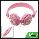 Pink 3.5mm Volume Control Stereo Headphone Headset with Microphone for Computer PC