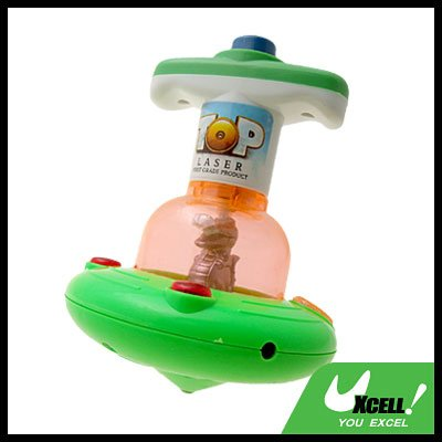 Dinosaur Peg-top Top Toy Green with Color Flash Light for Kids