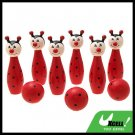 Kids Wooden Bowling Game Set Toy 6 Fox Pins 3 Balls