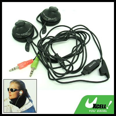 Black Stereo Earphone Headphone Microphone with Ear-Hook for PC Computer
