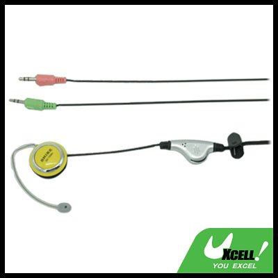 Yellow 3.5mm Stereo Earphone Headphone Microphone with Ear-Hook for PC Computer