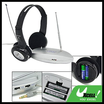 Wireless Stereo Headphone Headset with FM Radio for TV PC