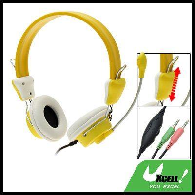 Yellow 3.5mm Stereo MP3 PC Computer Microphone Headphone