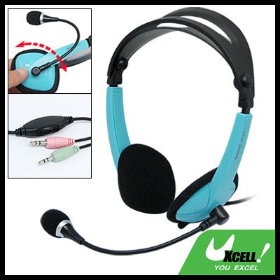 Green 3.5mm PC Computer Headphone Headset Adjustable Microphone