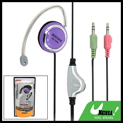 3.5mm Earphone Microphone with Ear-Hook for PC Computer