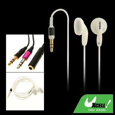 Silvery MP3 MP4 Laptop PC Stereo Earphone w/ 3.5mm Plug