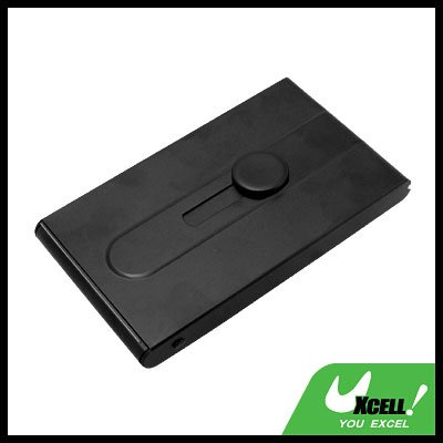 Metallic Plated COOL Automatic Sliding Business Card Case Holder - Black