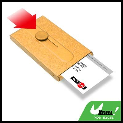 Metallic Plated COOL Automatic Sliding Business Card Case Holder - Golden Yellow