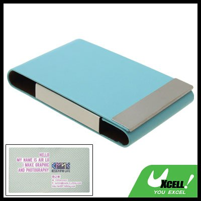 Fashionable Green Sleek Leather Magnetic Flip Cover Business Card Case Holder