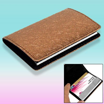 Brown Leahter Magnetic Business Credit Card Case Holder