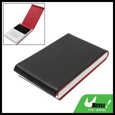 Black Vertical Leather Surface Magnetic Business Card Case