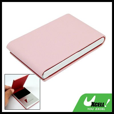 Pink Vertical Leather Surface Magnetic Business Card Case