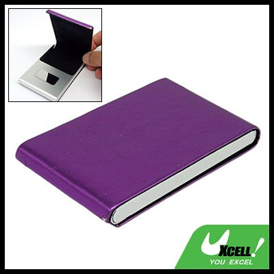 Purple Vertical Leather Surface Magnetic Business Card Case
