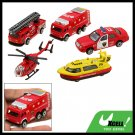 5pcs Red Fire Engine Pumper Helicopter Toy for Children Kids