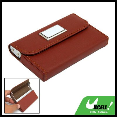 Leather Surface Aluminum Business Name Card Holder Case