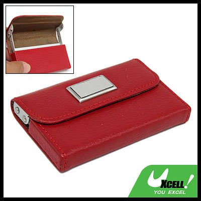 Red Leather Holder Case for Business Credit Name ID Card