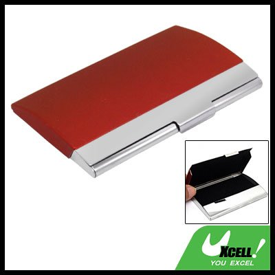 Red Stainless Steel Business Card Holder Case Silvery