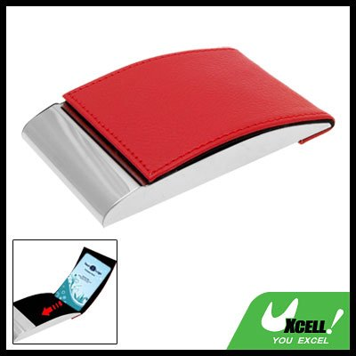 Vertical Red Leather Metal Business Credit Card Case Holder