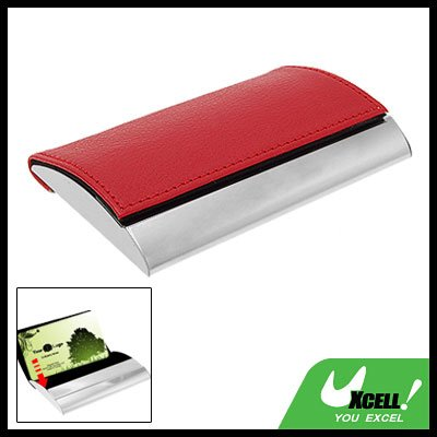 Slim Red Leather Stainless Steel Business Card Case Holder