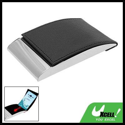 Vertical Black Leather Surface Metal Business Card Case Holder