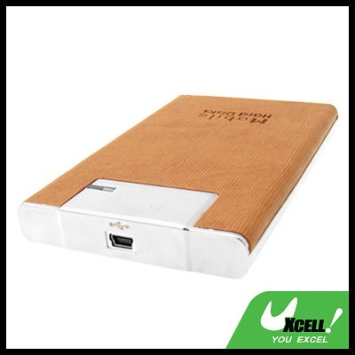 "2.5"" USB SATA HDD Silver Aluminum External Hard Drive Enclosure Case Brown"