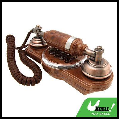Vintage Brown Corded Wall Mount Home Telephone