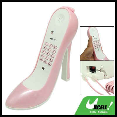 Pink RJ11 High-Heel Stiletto Shoe Shaped Corded Telephone