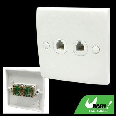 2 Gang 4 pin Home RJ11 Telephone Outlet Wall Plate