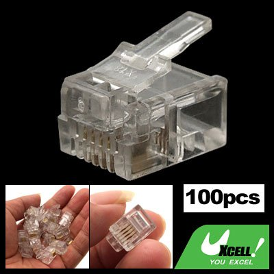100 x Clear RJ11 RJ-11 Modular Plug Telephone Connector 6P4C Cat3