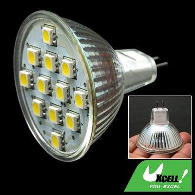 Warm White 12V DC MR16 Spotlight Bulb w/12 SMD 5050 LED