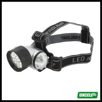 25 White LED + Head Strap Micro Headlamp Head Flashlight Silver