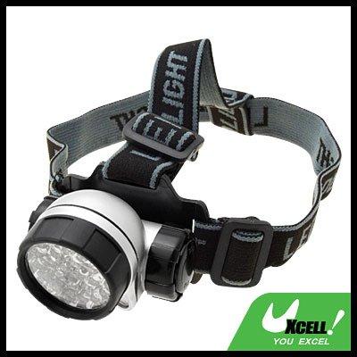 28 LED + Head Strap Micro Headlamp Head Torch - Silver & Black