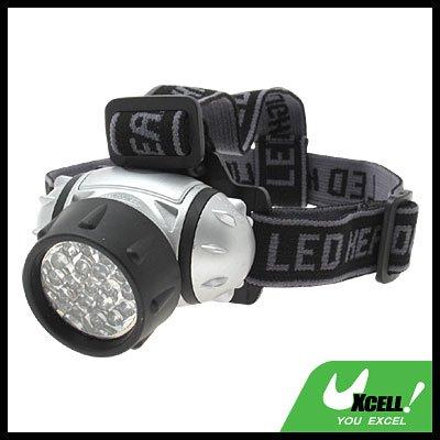 19 LED + Head Strap Micro Headlamp Head Torch - Silver & Black