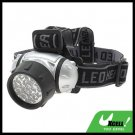 19 LED + Head Strap Micro Headlamp Head Torch - Silver & Black