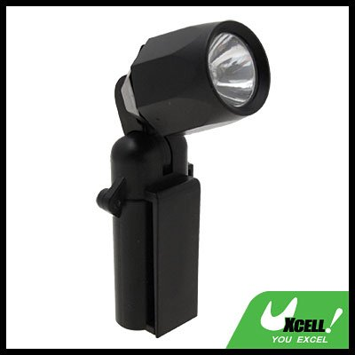 90 Degree Rotating Lamp Head Clip Torch Flashlight Black