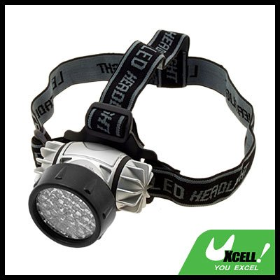 37 White LED Head Flashlight Headlamp Sliver with Head Strap