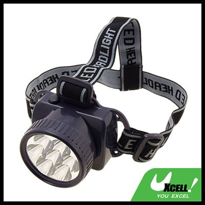 7 White LED Head Flashlight Headlamp with Head Strap