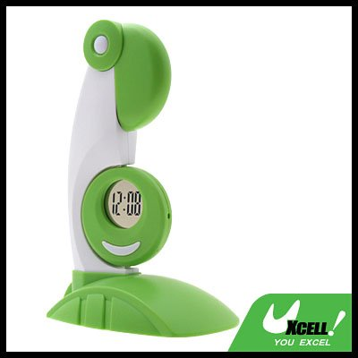 Green Desktop USB Parrot LED Lamp and Clock