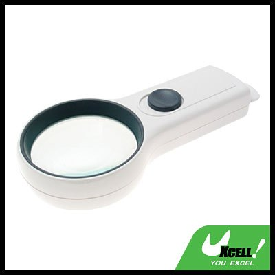 4X High-Quality Pocket Illuminated Magnifier Magnifying Glass - White