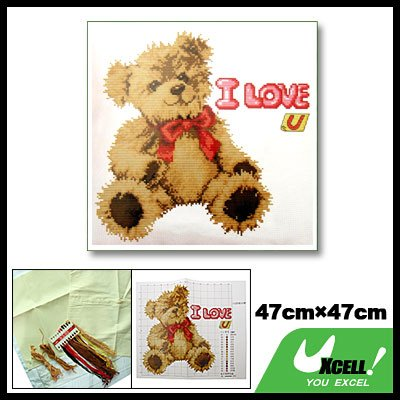 I Love You Teddy Bear Pillow Cushion Cover Counted Cross Stitch Cross-Stitch Kit