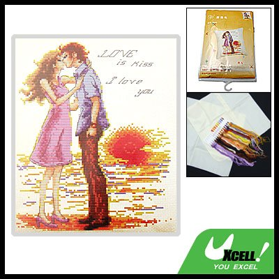 Kissing Lovers Counted Cross-Stitch Cross Stitch Pillow Kit