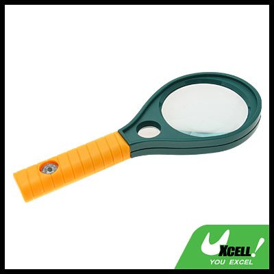 60mm Dia 4x 6x Mineral Glass Handle Magnifier Magnifying Glass With Compass